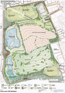 Planned habitat restoration at Beddington Farmlands (© Terence O'Rourke Ltd)